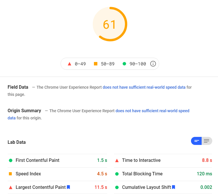 Jetpack Boost google page speed before